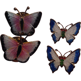 Set of 4 Tiny Enamel Butterfly Pins