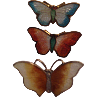 Trio of Tiny Vintage Enamel Butterfly Pins