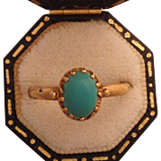 Sweet Viictorian 14K Gold and Persian Turquoise Ring