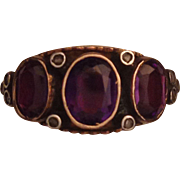 Unusual Gold and Silver Amethyst Three Stone Ring