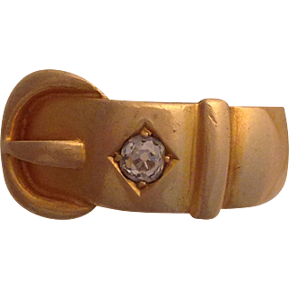 18K Gold English Buckle Ring with Diamond 1894