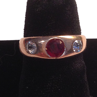Wonderful 14K Victorian Rose Gold Gypsy Ring W Ruby and Diamonds