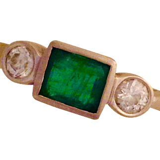 Estate Emerald and Diamond Three Stone Ring