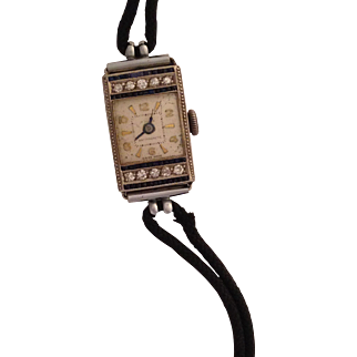 14K Art Deco Ladies Watch with Diamonds and Sapphires
