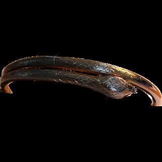 Wonderful 9K English Rose Gold Snake Bangle Bracelet