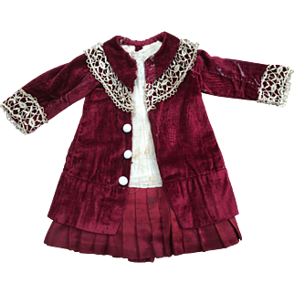 Wonderful antique dress and coat for antique small doll