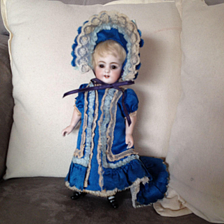 Rare dress and hat for all bisque mignonette doll of 8,2 inches