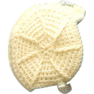 Vintage Adorable 1940's Hand Knit Ivory and Blue Baby Bonnet