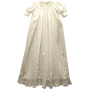 Elegant Vintage Handmade Turn of the Century White Eyelet Ruffled Christening Gown