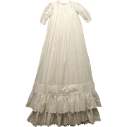 Exquisite Vintage Handmade 1910 White Ruffled Christening Gown