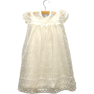 Vintage Beautiful 1950's White Chiffon and Lace Christening Gown