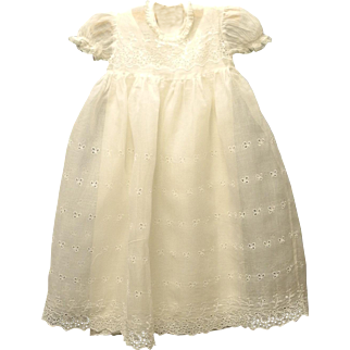 1920's Ivory Cotton Lace Baby Girl Christening Gown Vintage Christening Gown Vintage Baby Clothes