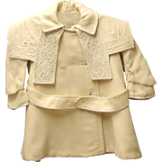 1900 Handmade Cream Wool Double Breasted Baby Girl Coat