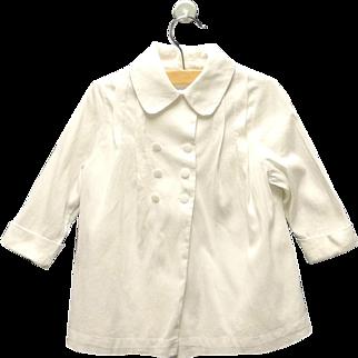 Vintage Lovely Handmade 1950's White Double Breasted Baby Girl Coat Set