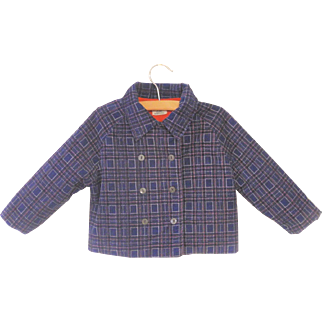 Vintage Adorable 1940's Double Breasted Navy Blue Corduroy Baby Coat Set