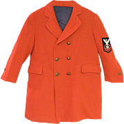 1940's Red Wool Double Breasted Child's Coat