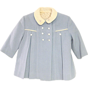 1950's Light Blue and Ivory Wool Baby Girl Coat Set