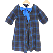 1960's Turquoise Blue and Charcoal Gray Plaid Girl's Dress