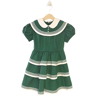 1950's Hunter Green and Ivory Girl's Dress