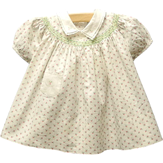 1950's Cream, Green and Pink Baby Girl Dress