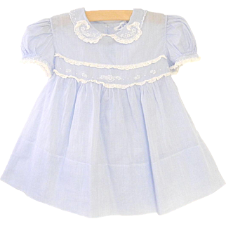 1940's Saks Fifth Avenue Sky Blue and White Lace Baby Girl Dress