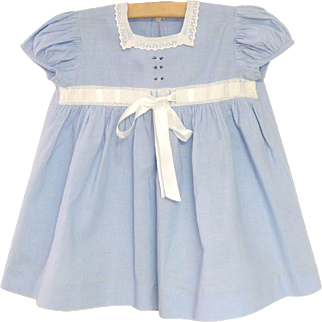 1940's Sky Blue and White Lace Baby Girl Dress