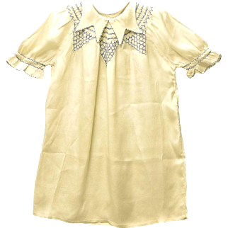 1920's Handmade Pale Yellow and Blue Crepe Baby Dress