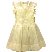 Vintage Very Pretty 1920's Pale Green and Yellow Organdy Baby Dress