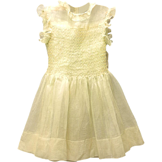 1920's Pale Green and Yellow Organdy Baby Dress