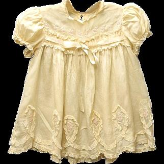 1920's Handmade Tan Silk and Lace Baby Dress