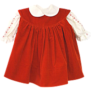 Vintage 1970's Saks Fifth Avenue Red Velvet and Cream Lace Baby Girl Dress