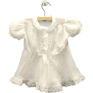 1940's Twin White Cotton Voile and Lace Baby Dresses