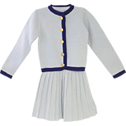 Vintage Beautiful Rare 1920's Frederick & Nelson Light Blue Wool Knit Baby Girl Sweater and Pleated Skirt Set