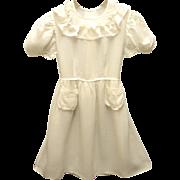Vintage Pretty Handmade 1920's Ivory Ruffled Girl's Dress