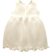 Vintage Lovely Handmade 1910's Sleeveless White Organdy Baby Dress