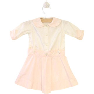 Vintage Pretty 1930's Pale Pink and White Baby Dress Set