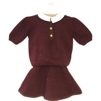 Vintage Beautiful 1930's Hand Knit Maroon Wool Baby Jumper and Sweater Set