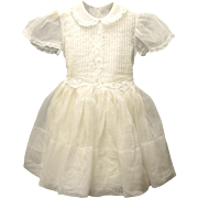 Vintage Exquisite 1940's Ivory Organdy and Lace Girl's Dress