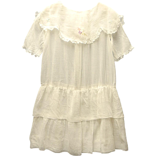 Vintage Very Pretty 1920's Handmade White Drop Waist Girl's Dress