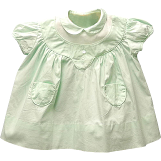 Vintage Very Pretty 1950's Kate Greenaway Mint Green and White Baby Dress