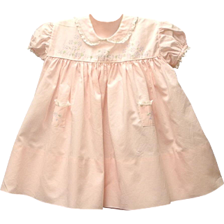 Vintage Very Pretty 1950's Pink and White Lace Baby Dress