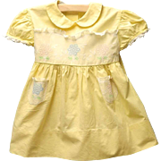 Vintage Lovely 1950's Yellow and White Lace Baby Dress