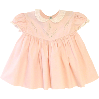 1940's Alfred Leon Petal Pink and White Lace Baby Girl Dress