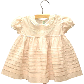 1940's Alfred Leon Soft Pink and White Lace Baby Girl Dress