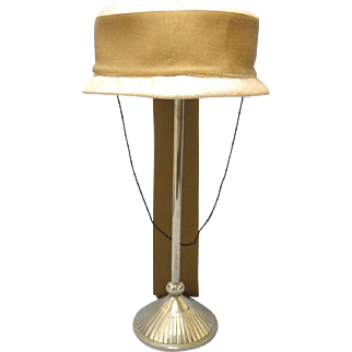 Vintage Very Pretty 1950's Cream Light Brown and Tan Baby Hat