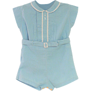 Vintage Lovely 1940's Aqua Blue Two Piece Baby Romper