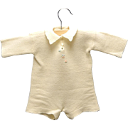 Vintage Lovely 1920's Hand Knit Cream Wool Baby Romper