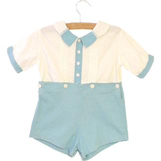 1920's Handmade Teal Blue and Ivory Baby Boy Romper
