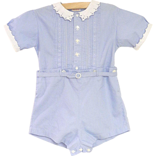1940's Sky Blue and White Two Piece Baby Boy Romper
