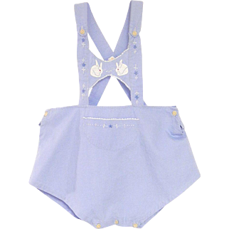 1940's Sky Blue and White Baby Boy Romper